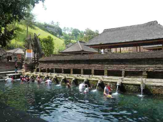 Dipping in hot spring water